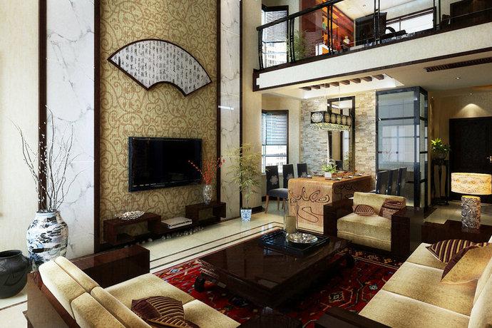 莊重優雅傳統中式別墅裝修效果圖